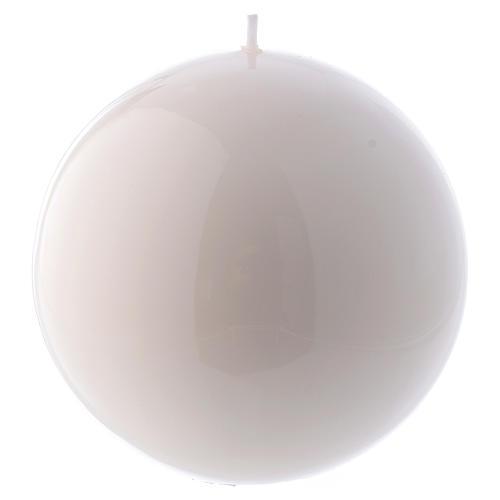 Candela Sfera Lucida Ceralacca d. 12 cm bianca 1