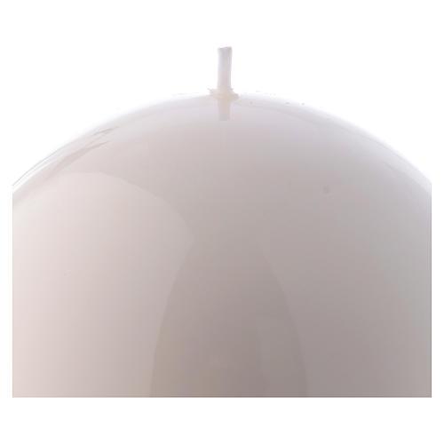 Candela Sfera Lucida Ceralacca d. 12 cm bianca 2