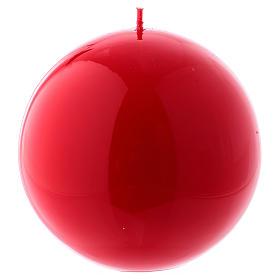 Bougies, cierges, chandelles: Bougie Sphère Brillante Ceralacca diam. 12 cm rouge
