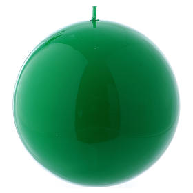 Spherical green Ceralacca candle diameter 12 cm s1