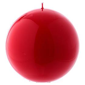 Bougies, cierges, chandelles: Bougie Sphère Brillante Ceralacca diam. 15 cm rouge