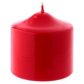 Candles, large candles: Glossy red Ceralacca candle diameter 8x8 cm