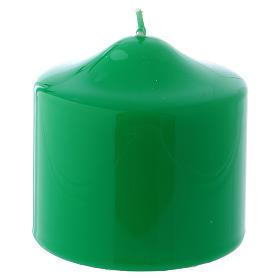 Bougies, cierges, chandelles: Bougie Brillante Ceralacca verte 8x8 cm