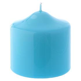 Bougies, cierges, chandelles: Bougie Brillante Ceralacca bleu clair 8x8 cm