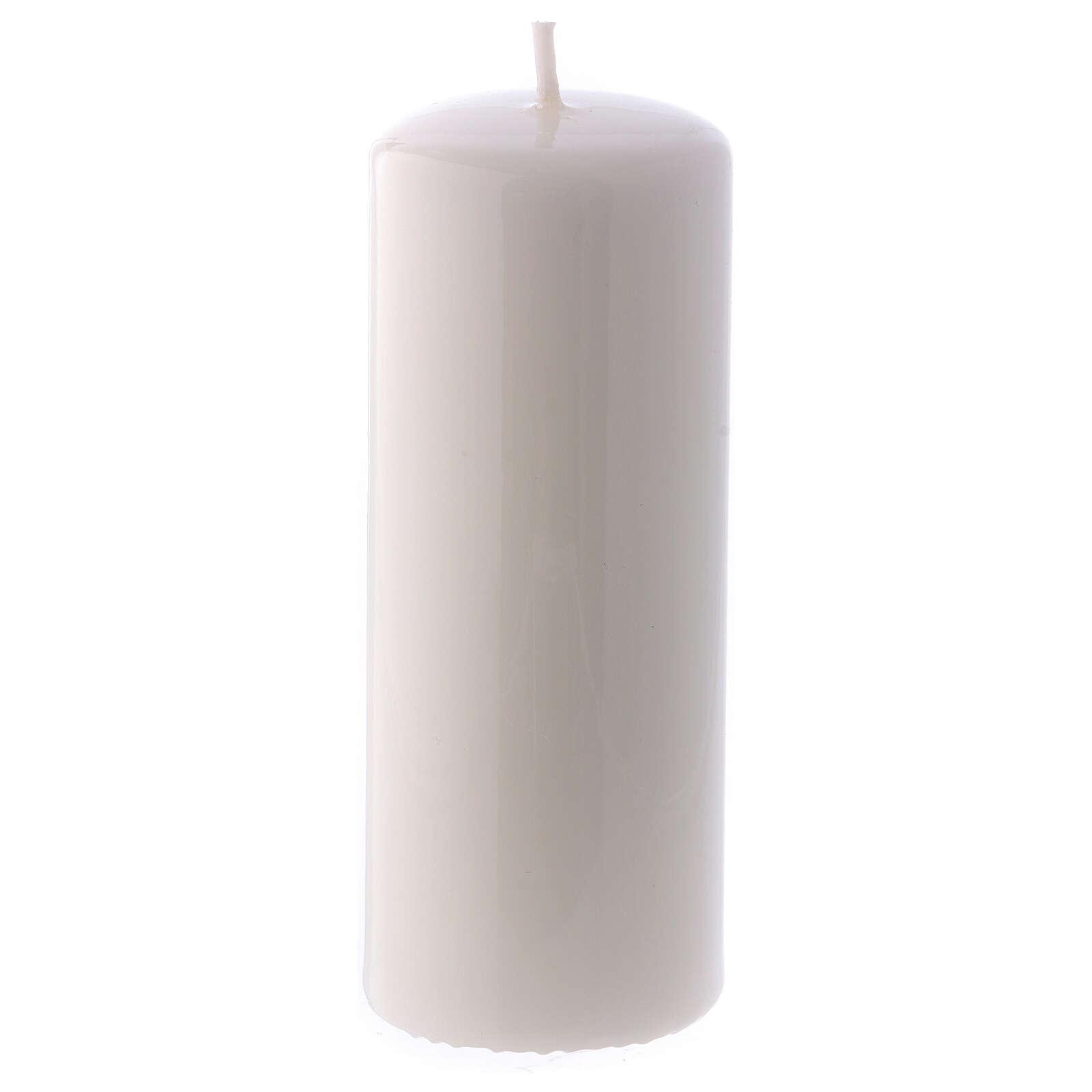 Shiny White Pillar Candle Ceralacca, 5x13 cm 3