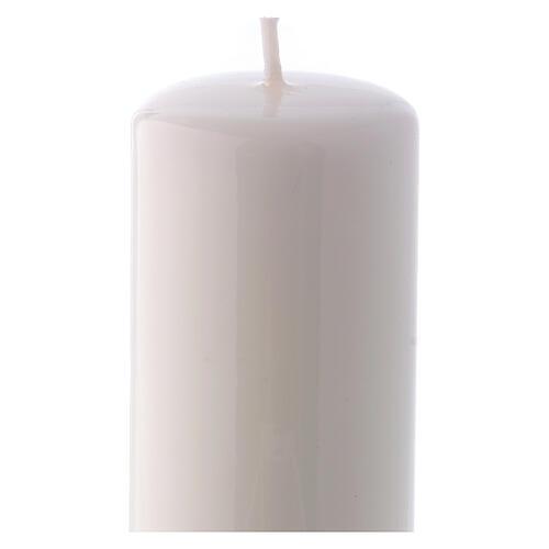 Shiny White Pillar Candle Ceralacca, 5x13 cm 2