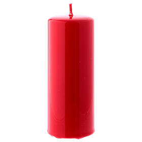 Shiny Red Pillar Candle Ceralacca, 5x13 cm s1