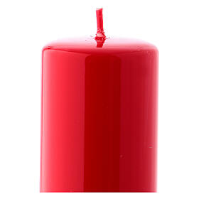 Shiny Red Pillar Candle Ceralacca, 5x13 cm s2