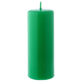 Shiny Green Pillar Candle Ceralacca, 5x13 cm s1