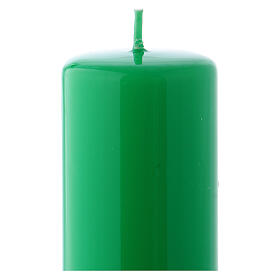 Shiny Green Pillar Candle Ceralacca, 5x13 cm s2