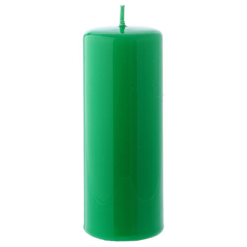 Shiny Green Pillar Candle Ceralacca, 5x13 cm 1