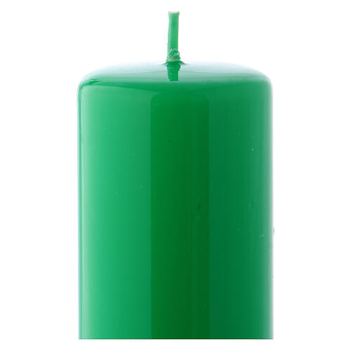 Shiny Green Pillar Candle Ceralacca, 5x13 cm 2