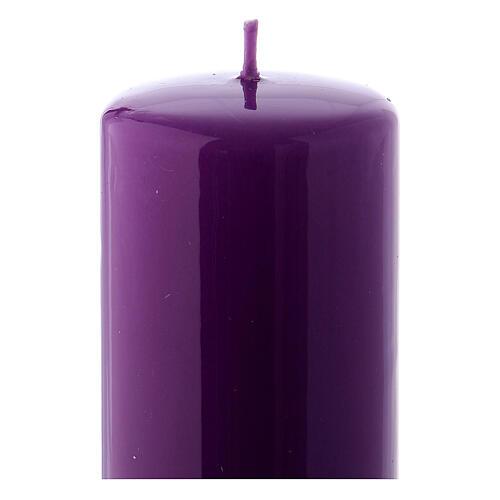 Purple Pillar Candle Glossy Ceralacca, 6x15 cm 2
