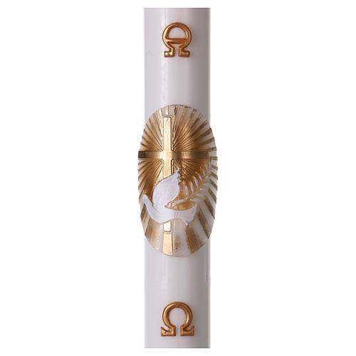 Osterkerze aus weißem Wachs, Motiv goldenes Kreuz und Taube 8x120 cm