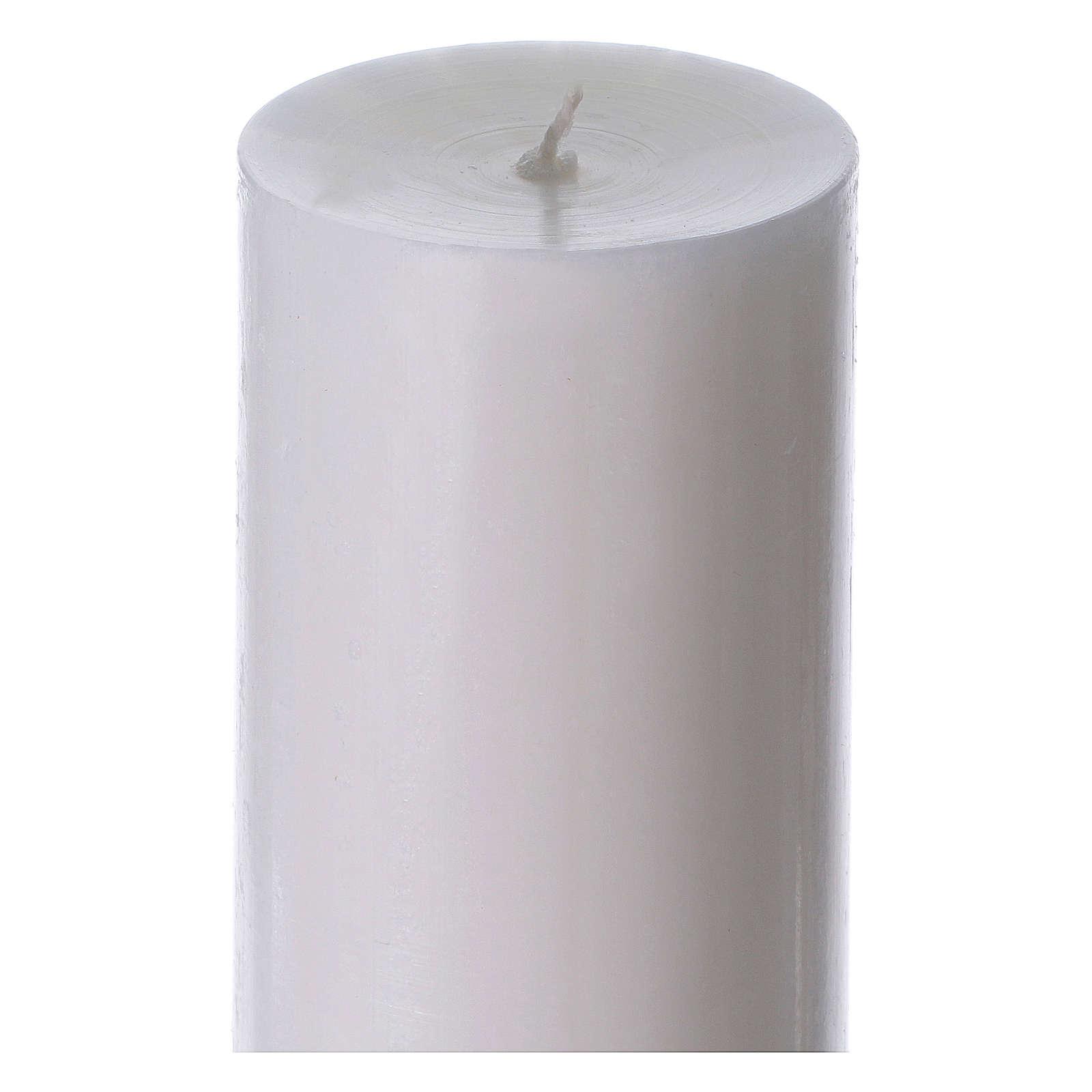 Cierge pascal blanc Croix et Colombe 8x120 cm 3