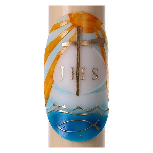 Osterkerze aus Bienenwachs, Motiv Boot farbig gefasst 8x120 cm