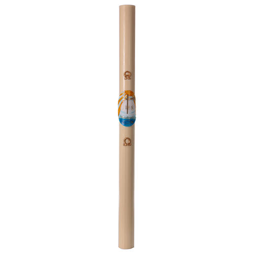 Beeswax Paschal Candle with Bas-relief colored boat, 8 x120 cm 4