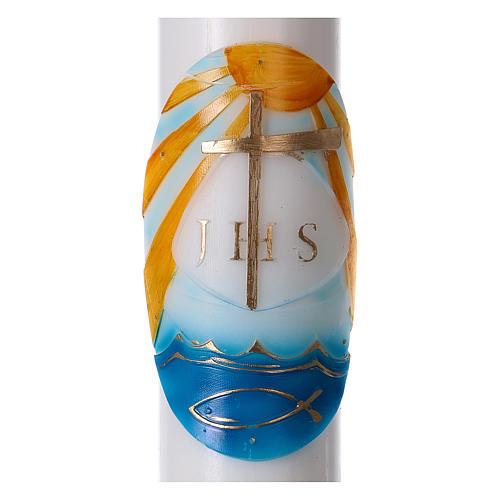 Osterkerze aus weißen Wachs, Motiv Boot farbig gefasst 8x120 cm