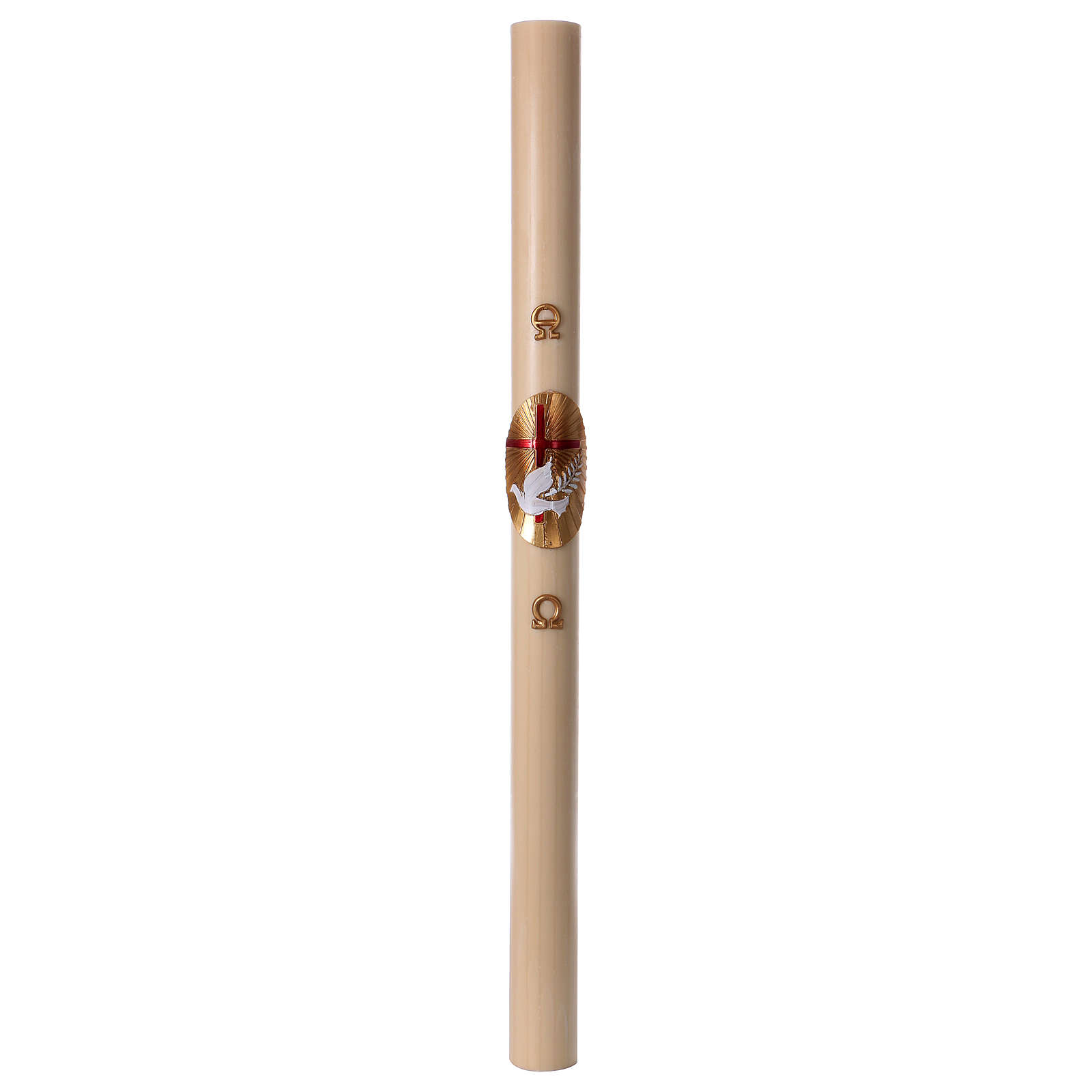 Cierge pascal cire d'abeille Croix et Colombe rouge 8x120 cm 3