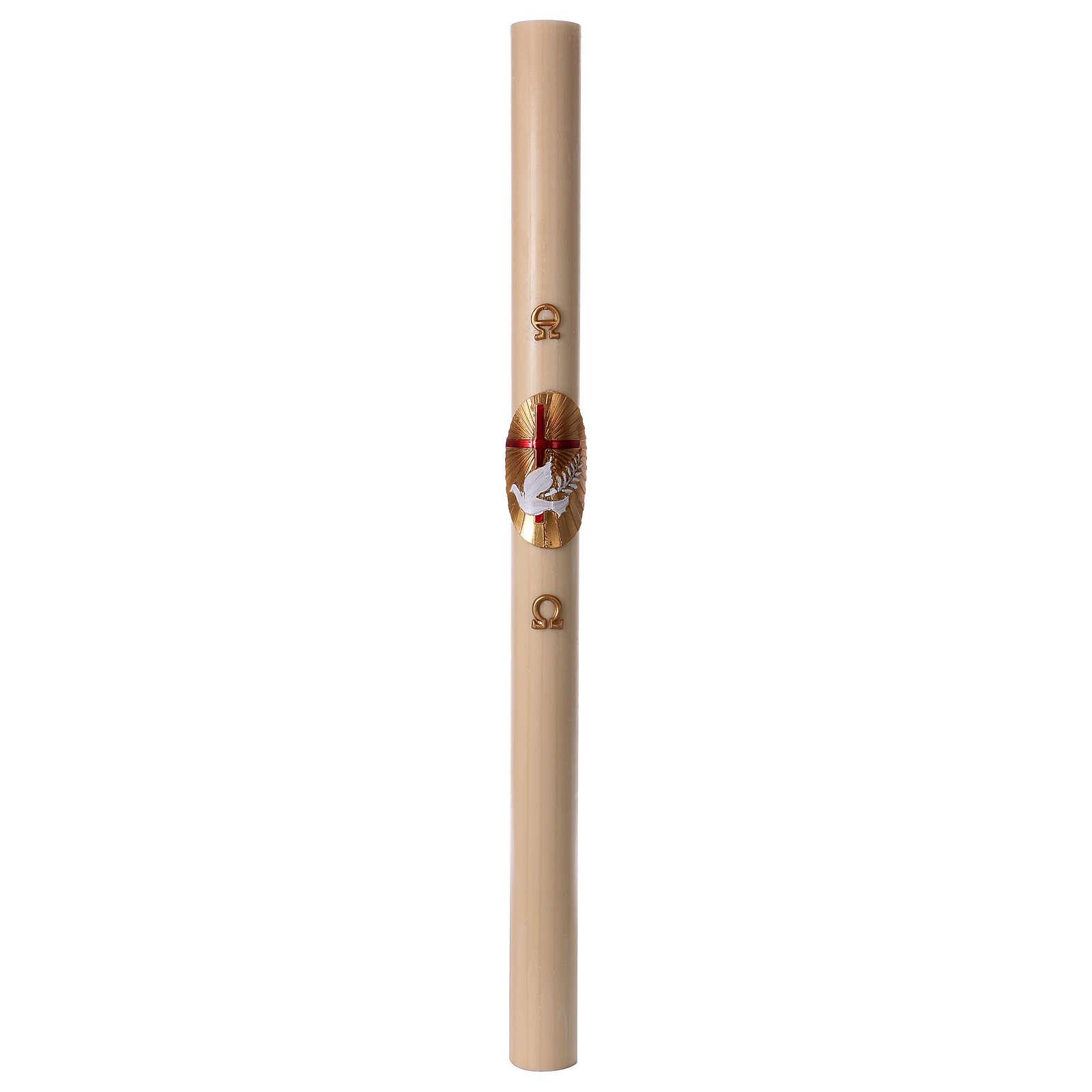 Cero pasquale cera d'api Croce e Colomba Rosso 8x120 cm 3