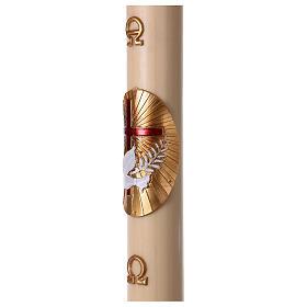 Cero pasquale cera d'api Croce e Colomba Rosso 8x120 cm s3