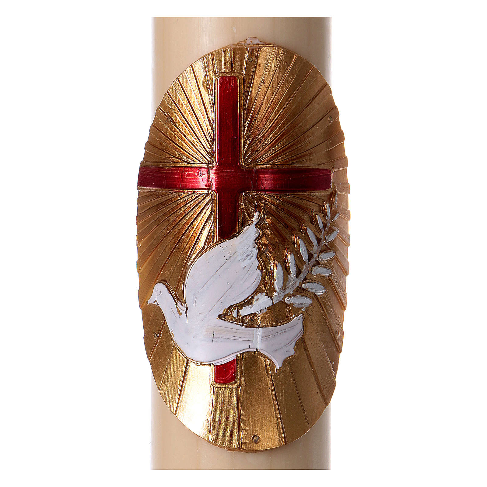 Beeswax Paschal Candle with Red Cross and White Dove 8x120 cm 3