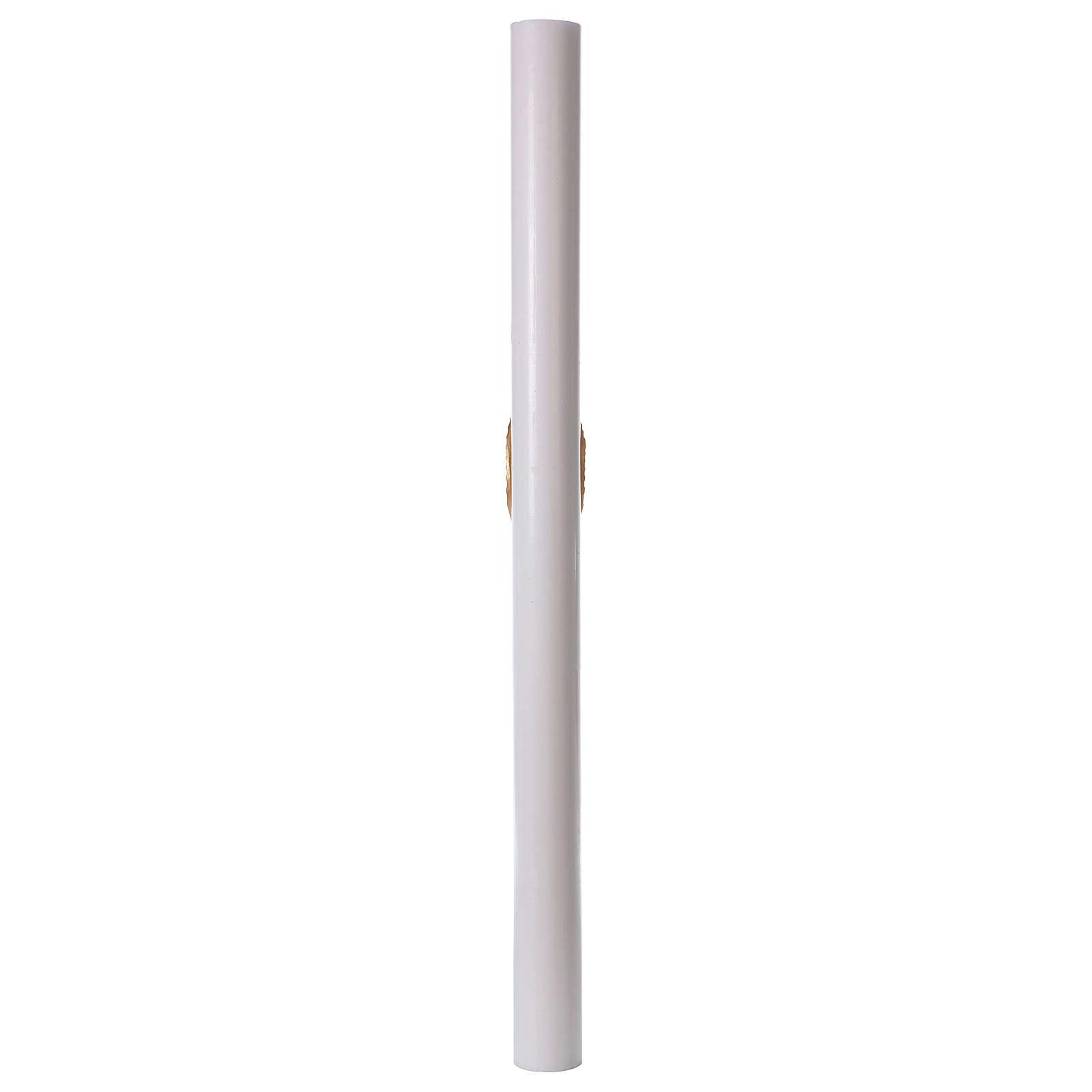 Cierge pascal blanc Croix et Colombe rouge 8x120 cm 3
