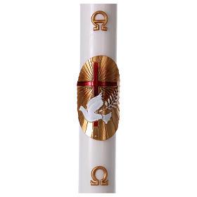 Bougies, cierges, chandelles: Cierge pascal blanc Croix et Colombe rouge 8x120 cm