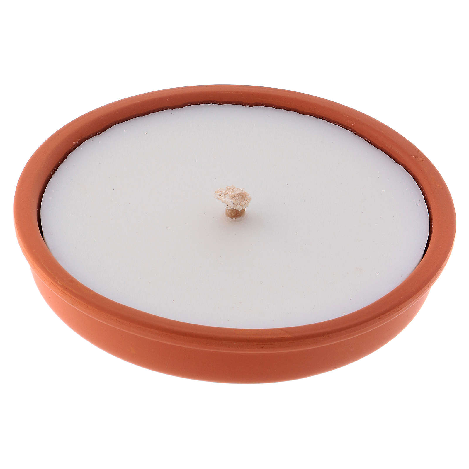 Candle for outdoor use in white wax and terracotta 3