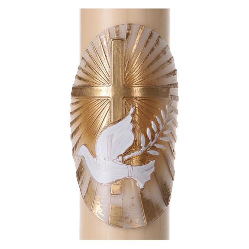 Osterkerze aus Bienenwachs, Motiv goldenes Kreuz und Taube 8x120 cm MIT METALLEINLAGE