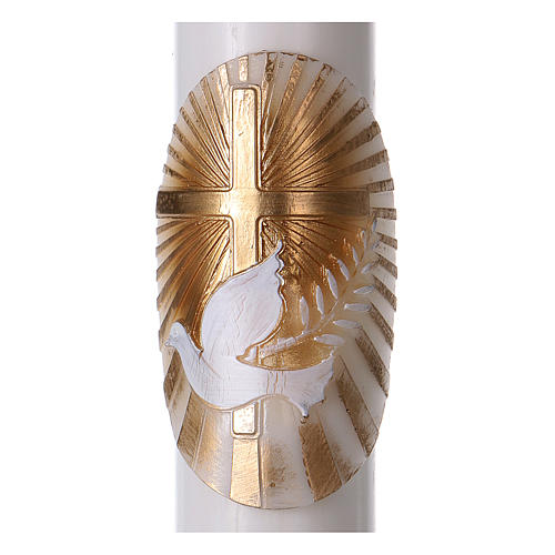Osterkerze aus weißem Wachs, Motiv goldenes Kreuz und Taube 8x120 cm MIT METALLEINLAGE