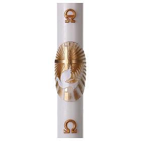 Cero pasquale bianco Croce e Colomba 8x120 cm CON RINFORZO s1