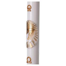 Cero pasquale bianco Croce e Colomba 8x120 cm CON RINFORZO s3