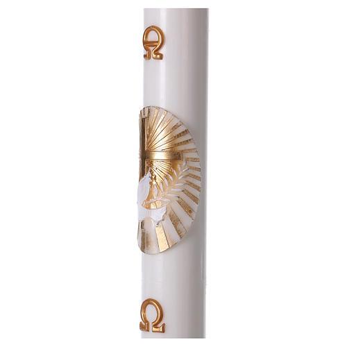 Cero pasquale bianco Croce e Colomba 8x120 cm CON RINFORZO 3