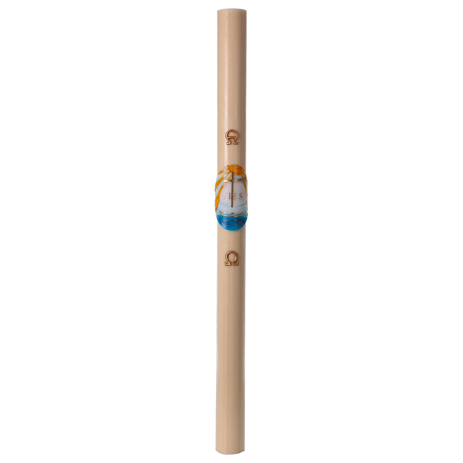 Beeswax Paschal Candle with Colored Boat 8x120 cm WITH REINFORCEMENT 3