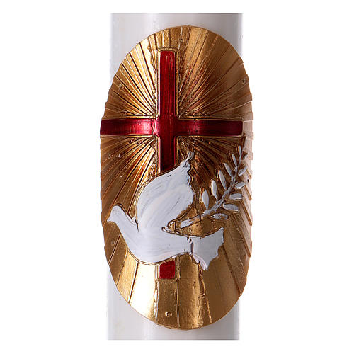 Osterkerze aus weißem Wachs, Motiv rotes Kreuz und Taube 8x120 cm MIT METALLEINLAGE
