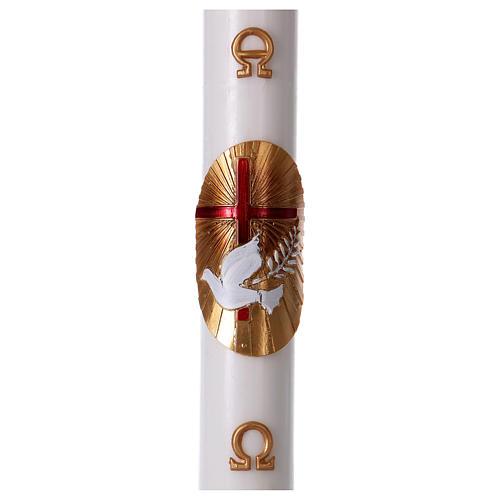 Cierge pascal blanc Croix Colombe rouge 8x120 cm AVEC  RENFORT 1
