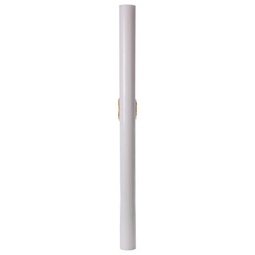 Cierge pascal blanc Croix Colombe rouge 8x120 cm AVEC  RENFORT 8