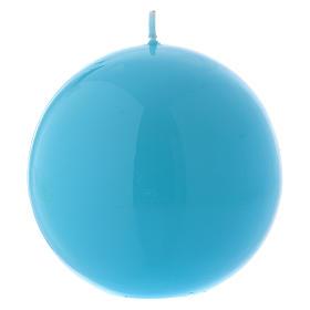Ceralacca spherical light blue wax candle, diameter 10 cm s1