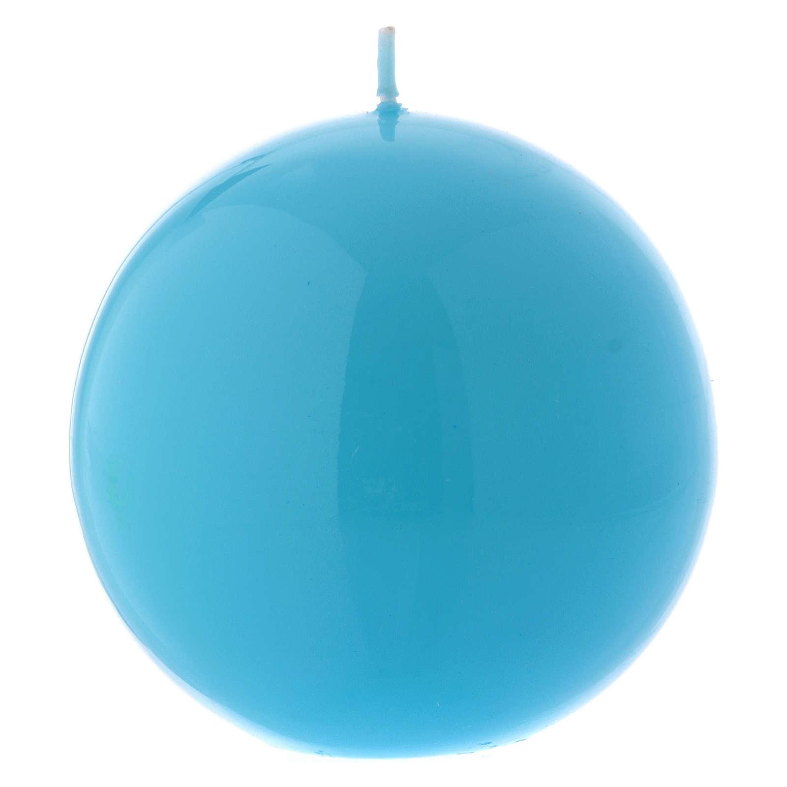 Candela da Mensa a Sfera Ceralaccata Azzurra d. 10 cm 3