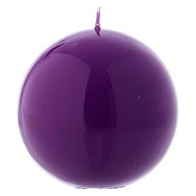 Bougies, cierges, chandelles: Bougie liturgique sphérique Ceralacca violet diam. 10 cm