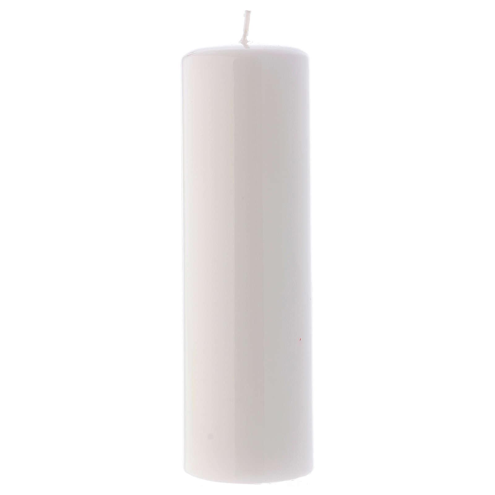 Candelotto Liturgico Lucido Ceralacca 20x6 cm Bianco 3