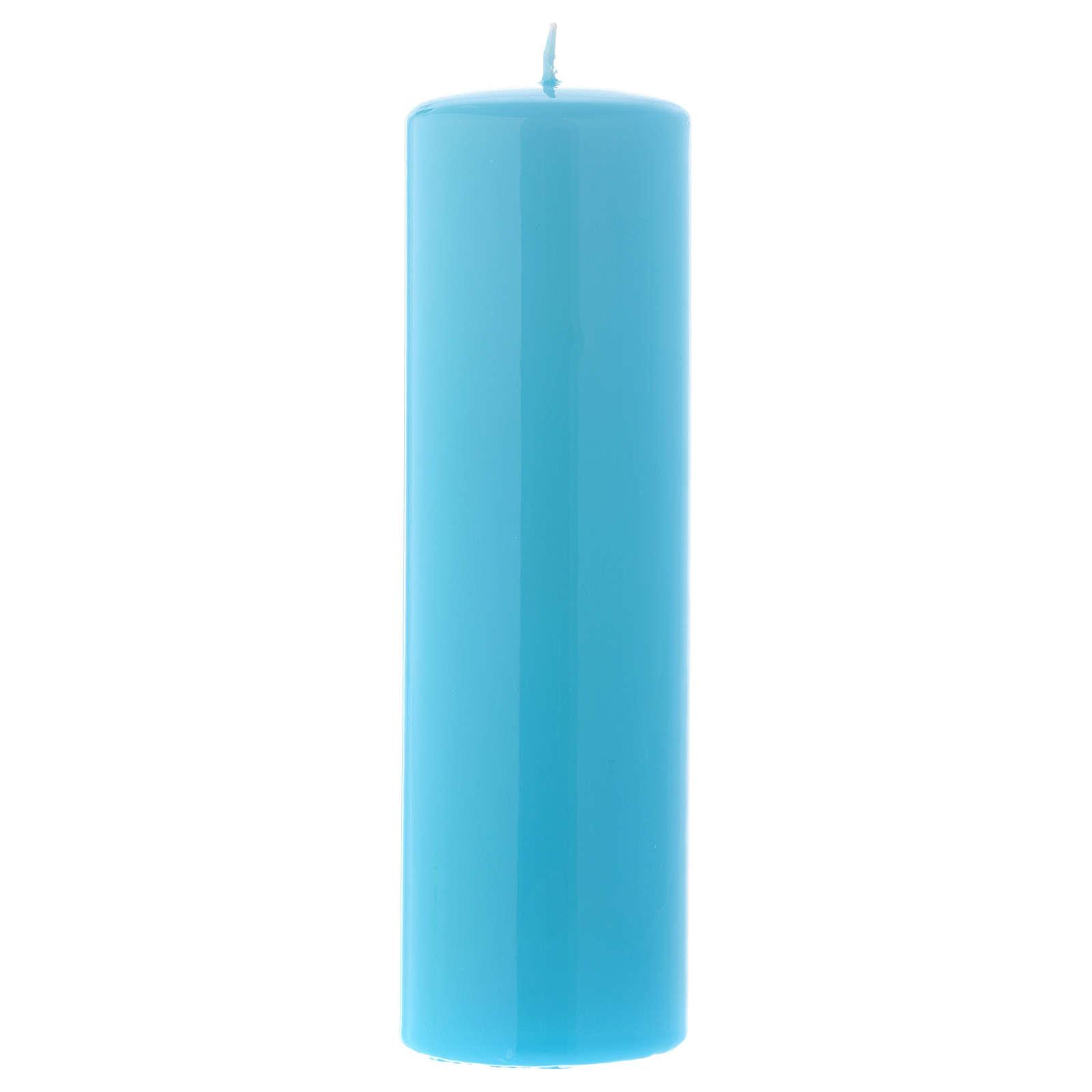 Candelotto da Mensa Lucido Ceralacca 20x6 cm Azzurro 3