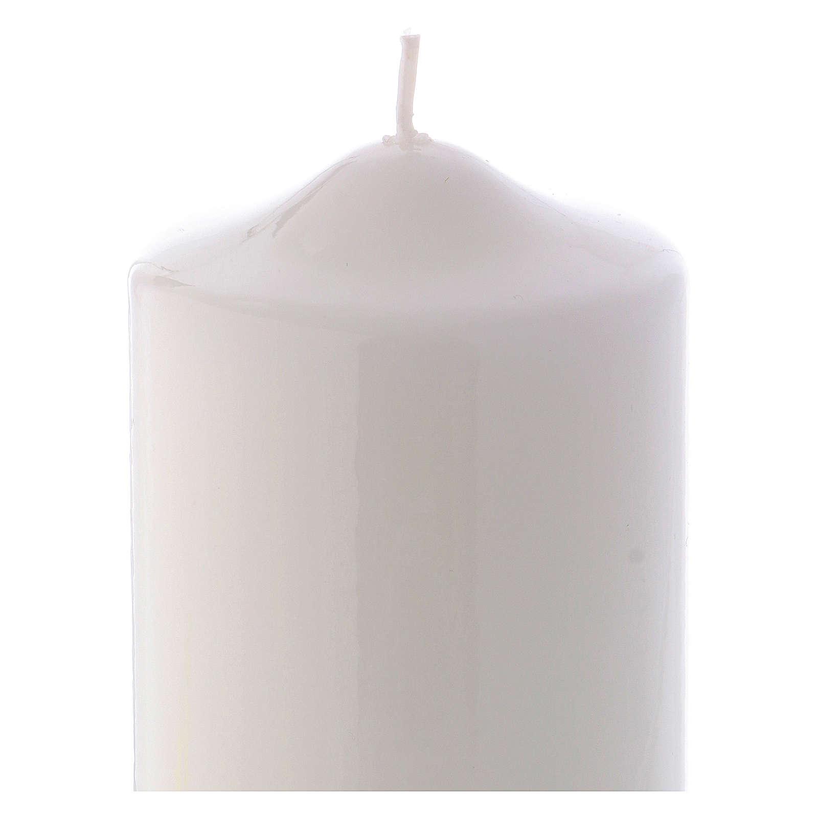 Candelotto Liturgico Lucido Ceralacca 15x8 cm bianco 3