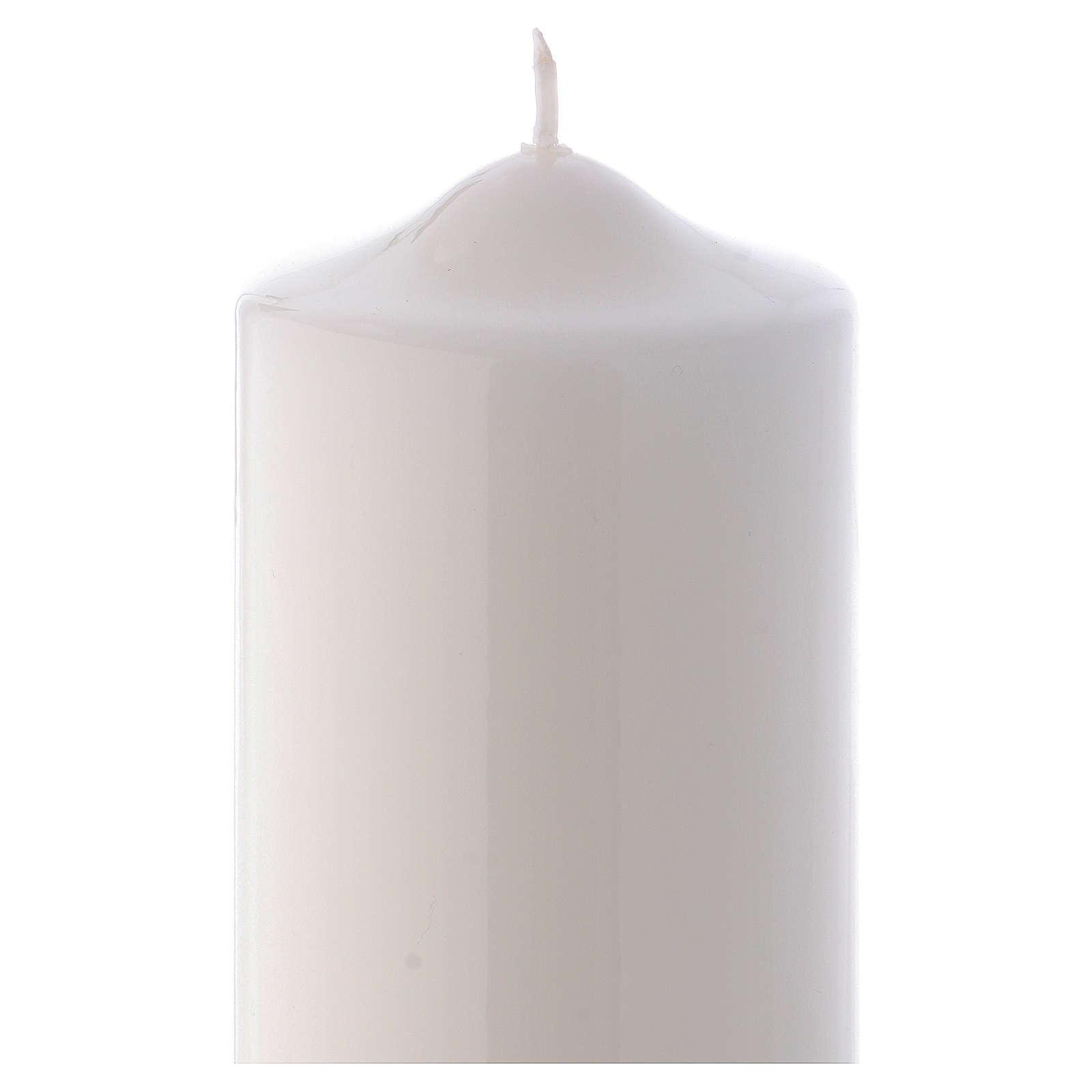 Candelotto Liturgico Lucido Ceralacca 24x8 cm bianco 3