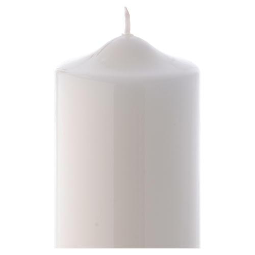 Candelotto Liturgico Lucido Ceralacca 24x8 cm bianco 2