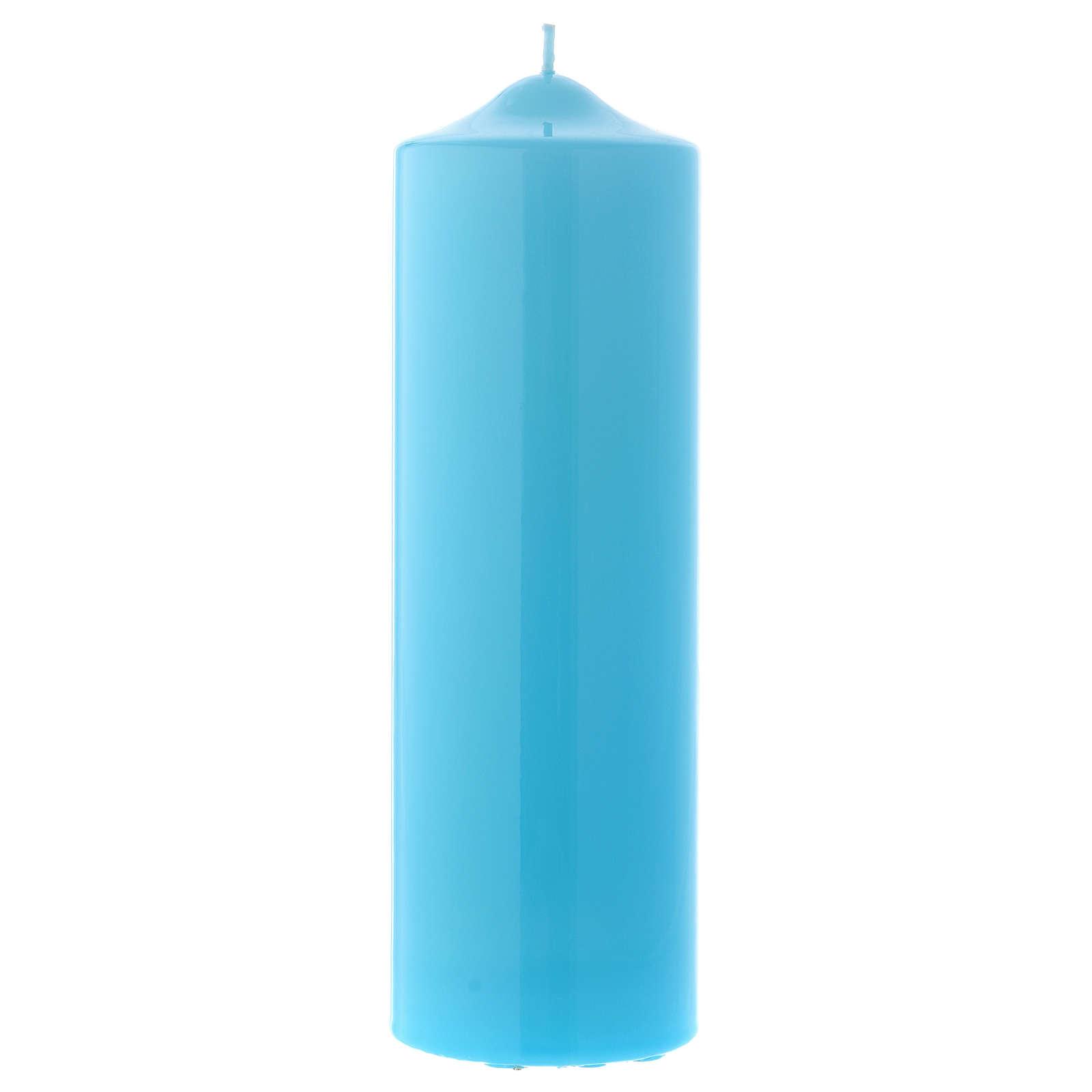 Bougie liturgique cire brillante Ceralacca 24x8 cm bleu clair 3