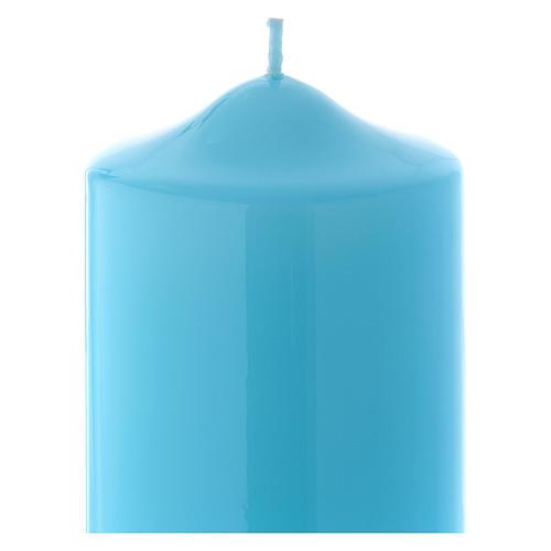 Bougie liturgique cire brillante Ceralacca 24x8 cm bleu clair 2