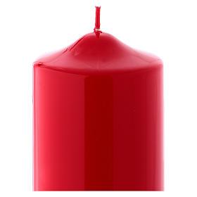 Bougie liturgique cire brillante Ceralacca 24x8 cm rouge s2