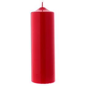 Candelotto Liturgico Lucido Ceralacca 24x8 cm rosso s1